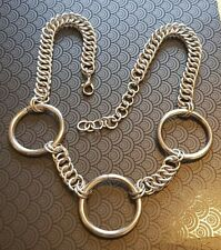 """Stainless Steel BDSM Choker Triple O Ring Necklace Submissive 16""""-18"""" Custom Fit"""