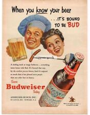1953 Budweiser Beer Anheuser Busch Happy Couple w/ Hot Dog Vintage Ad