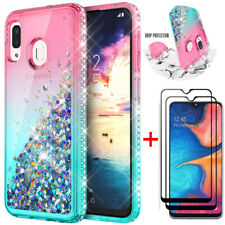 For Samsung Galaxy A20S Quicksand Glitter TPU Back Case +Full Screen Protector