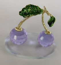 Cherry Purple/Blue Crystal Home Decor Figurine with Golden Stems & Green Leaves