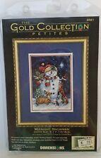 "NIP Dimensions Gold Collection Petites Midnight Snowman Cross Stitch 1998 5""x7"""