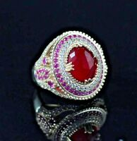 925 Sterling Silver Handmade Gemstone Turkish Ruby Ladies Ring Size 7-10