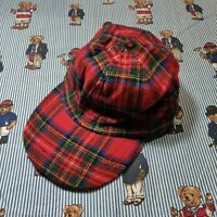 VTG GAP Tartan Plaid Wool Blend Hat Long Bill Cap Zip Strapback MED/LARGE Red