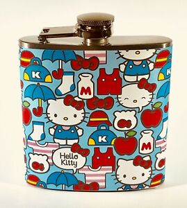 HELLO KITTY 6oz STAINLESS STEEL LIQUOR HIP FLASK FLASKS FUN PARTY GIFT GIFTS