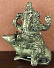 "Seated Lord Ganesha Antique Brass Statue 3.25"" High Brass Figurine Sculpture"