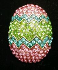 brooch pin rhinestone multicolor pink blue 1.5' Easter egg duck chick chicken