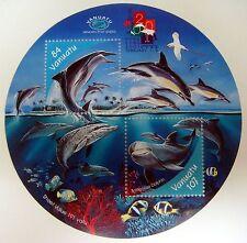 2001 VANUATU DOLPHIN STAMPS SOUVENIR SHEET ROUND STAMP OCEAN MARINE SEA LIFE