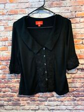 Black Embellished Oscar De La Renta Sweater Cardigan Women's Large