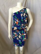 French Connection 100% Viscose Geometric Print One Shoulder Bodycon Dress Sz. 6