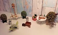 Vintage Dolls House Garden Bundle Flowers Outdoors Furniture Accessories Fairy