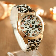 Unisex Watch Geneva Leopard Silicone Jelly Gel Analog Quartz Wrist Watch US