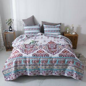 DaDa Bedding Bohemian Elegant Colorful White Bright Floral Paisley Bedspread Set