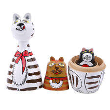 5pcs Wooden Nesting Dolls Matryoshka Russian Cats Hand Painted Doll Home Decor J