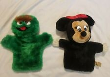 Lot 2 Applause Puppets - Disney Minnie Mouse - Sesame Street Oscar the Grouch