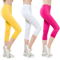 Women Capri Pants High Waist Cropped Leggings Fitness Trouser YOGA Running Sport