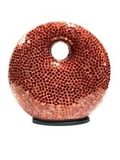 "Lamp Red Mosaic Glass Bali 12"" Donut Shape by Hand Made Unique Zenda Imports"