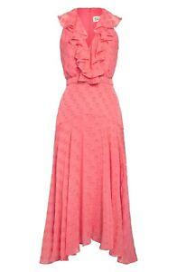 SALONI Rita Womens Sleeveless V-Neck Ruffle Midi Dress in Watermelon Pink Size 6