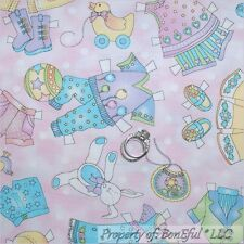 BonEful FABRIC FQ Cotton Quilt VTG Pink Baby Girl Dot Animal Dress Shoes Nursery