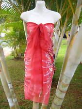 Sheer Sarong RED SPIKY FLORAL Beach Coverup Hawaii Cruise Pareo Wrap Skirt Dress