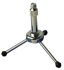 "Chrome Miniature Metal Tripod Desk Table Microphone Mic Stand 3/8"" 5/8"" #G121AA"