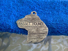 ANIMAL PUREBRED PET DOG 2 BASSET HOUND PEWTER POCKET COIN or PENDANT NEW.