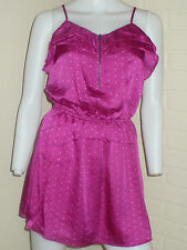 NEW MAGENTA HOT PINK NAKED ZEBRA POLKA DOT SATIN RUFFLE ZIPPER DRESS MEDIUM