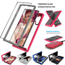 For Samsung Galaxy Note 10 /10 Plus Shockproof Clear Case + Tempered Glass Cover
