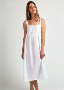 New NIGHT DRESS - WHITE - PIN TUCKS & STRAPS - NIGHTIE