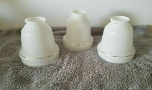 3) CEILING FAN REPLACEMENT GLOBE / SHADES WHITE BELL SHAPE w/ GOLD TRIM