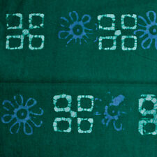 African Batik Fabric Pre-shrunk Hand-dyed Green  Blue  Sew Craft Quilt 34 inches