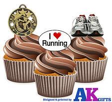 Medalla Precortada Correr Entrenadores corredores Mix 12 Cupcakes Toppers Decoración Fiesta