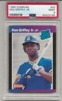1989 DONRUSS #33 KEN GRIFFEY JR. ROOKIE, PSA 9 MINT, HOF, L@@K !