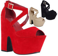 Ladies Cutout Wedge High Heel Ankle Strappy Peeptoe Platform Sandals Women Shoes