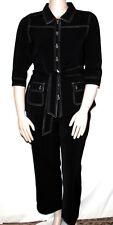 NEW Susan Graver Petite MEDIUM BLACK Stretch Peachskin Jacket & Pants
