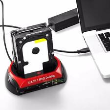 "Dual IDE SATA 2.5"" 3.5"" HDD Hard Drive Disk Clone Docking Station Card Reader"