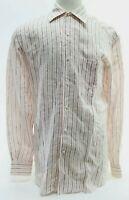 Ermenegildo Zegna Men's Long Sleeve Shirt Linen Sz 16.5 Striped White Excellent