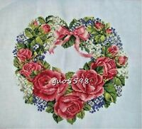 """New Finished Cross Stitch Needlepoint""""Flower Garland""""Home Wall Decor Gifts"""