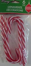 "New 6"" Plastic Candy Canes Christmas Tree Ornament Acrylic ~ 6 Red and White"