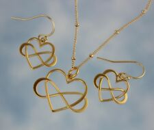 Love You Forever Gold Necklace & Earring Jewelry Set - Infinity Heart Charms
