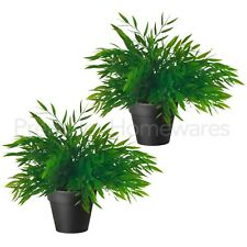 2 x IKEA FEJKA Artificial Green House Bamboo Plants in Black Pots (28cm Tall)