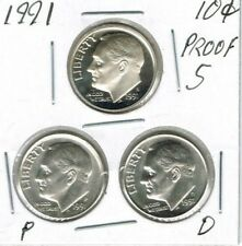 1991 Three Uncirculated Dime Types The San Francisco is From a Proof Set!