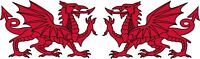 Welsh Dragon Caravan Van Car Bike Exterior Vinyl Stickers Handed x 2