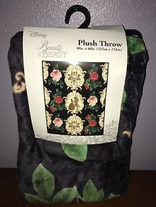 "Disney Beauty And The Beast Floral Throw Blanket 50"" x 60"" NEW"