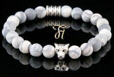Jaspe Blanc Gris 8mm Bracelet Bracelet de Perles Argenté Tête de Léopard