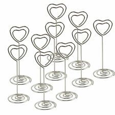 10 Silver Heart Wedding Party Event Name Table Card Holder Stand Clips Favor NEW
