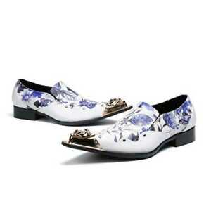 Men's Punk Floral Leather Business Formal Sllip On Casual Graffiti Loafers #445