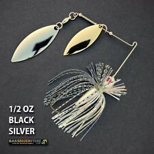 Bassdozer spinnerbaits FINESSE 1/2 oz H. BLACK SILVER spinner bait bass lures