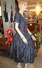 Vintage 1950s 1960s Suzy Perette Cocktail Party Dress Polka Dot Crinoline Full