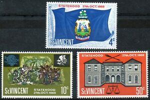 St Vincent 1969 QEII Statehood set of 3 mint stamps LMM