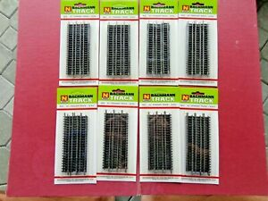 VINTAGE BACHMANN N SCALE STRAIGHT TRACK  # 7612  8 PACKS 0F 6 Pc. 4 1/2  in.